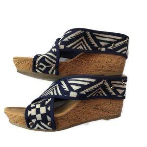 Minnetonka Criss Cross Studded Cork Wedge Sandals